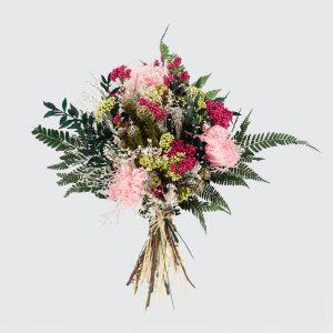 Ramo de flores preservadas en tonos rosas a domicilio en Madrid.
